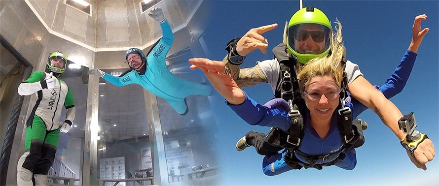side by side images of skydiving wind tunnel and first time female skydiving student in freefall