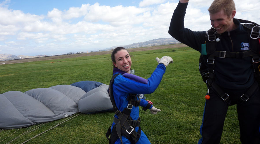 celebrating an awesome skydive