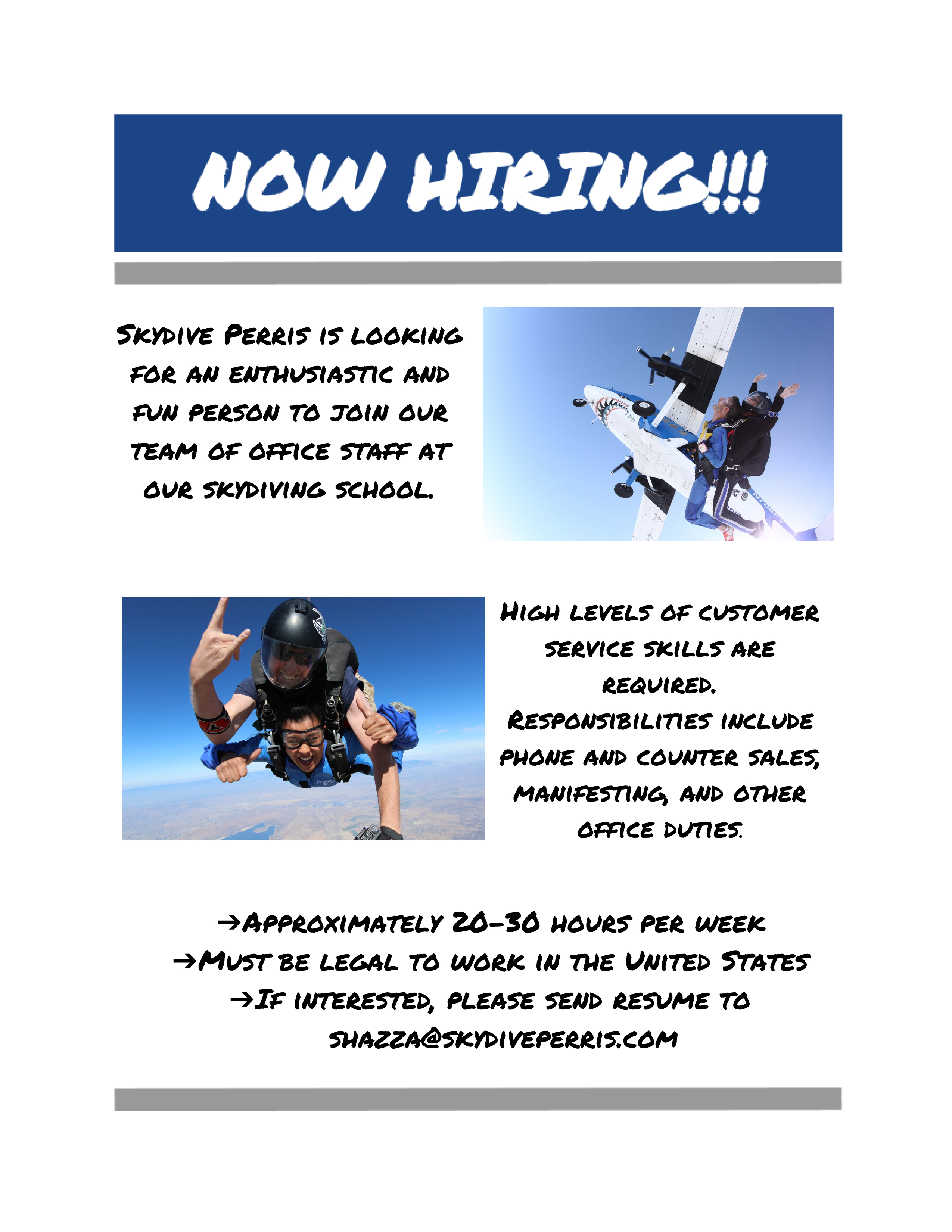 Now Hiring! | Skydive Perris