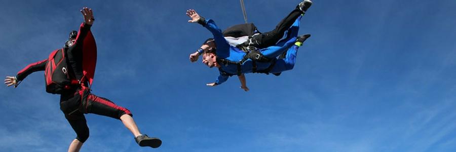 camera flyer capturing skydiving video