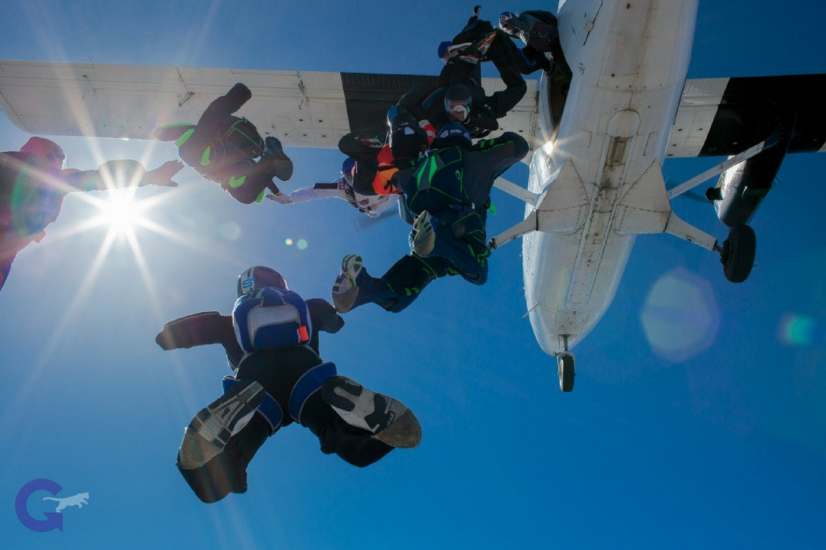 A group of skydivers jump from a plane.