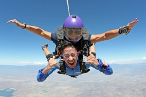 Angie in freefall with tandem student