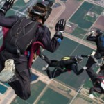 formation skydivers at Perris