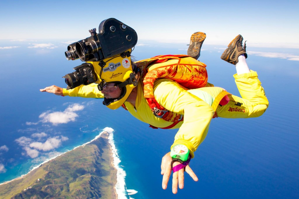 Skydiving photographer Tom Sanders working on a film in Hawaii