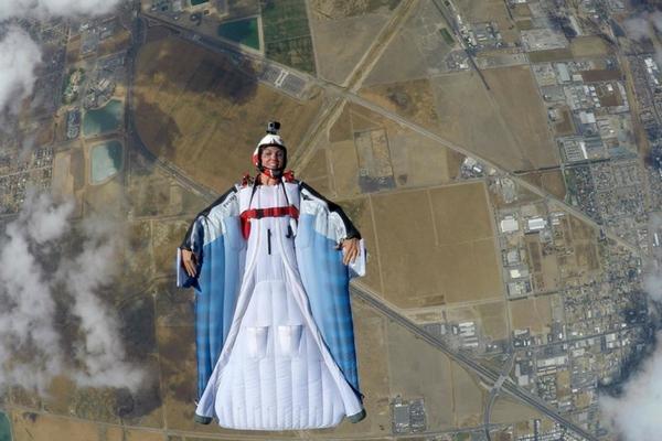 woman wingsuiting at skydive perris