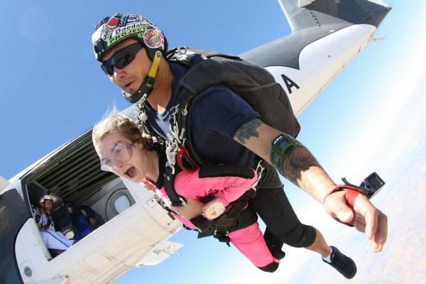 girl faces her first time skydiving experience