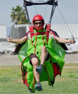 wingsuit flyer landing at Perris