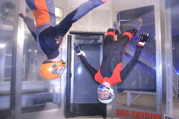 experienced skydivers hone skills in Perris wind tunnel