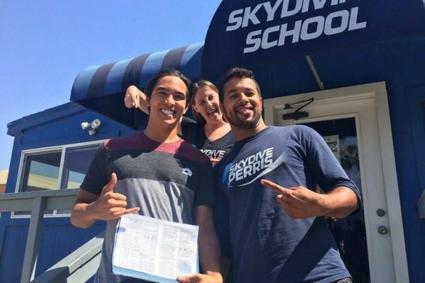 student earns skydiving license at Skydive Perris