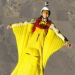 woman wingsuit flying at Perris