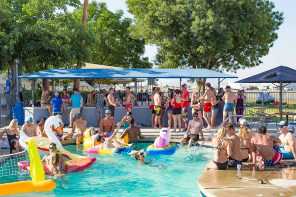 people hanging out poolside at Perris
