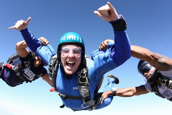 student learning to skydive at Perris