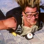 Patrick Swayze in skydiving freefall