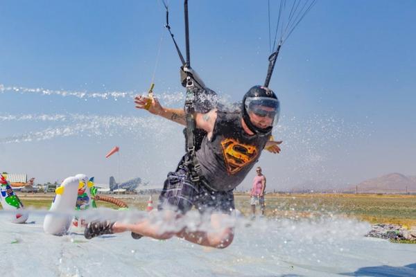 slip n' slide skydiving landing