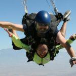 woman in skydiving freefall