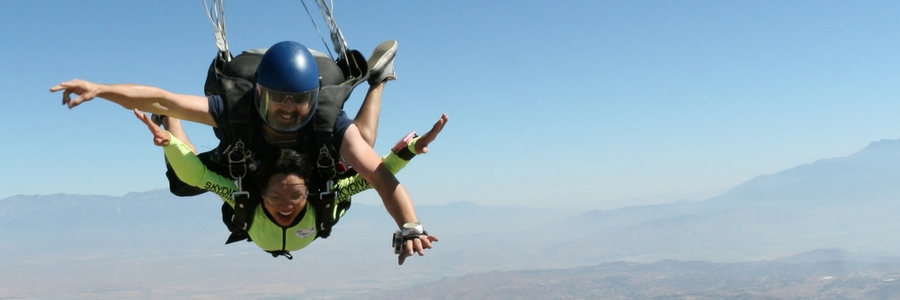 woman in skydiving freefall