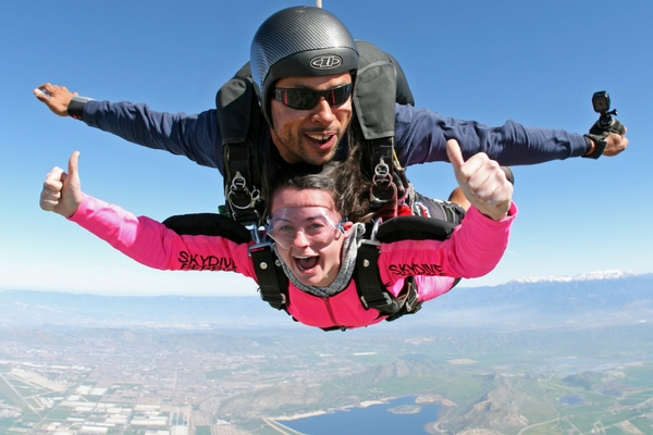tandem skydiving pair in freefall
