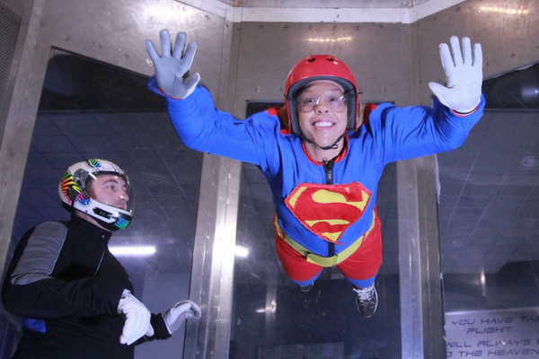 young man tries indoor skydiving at Perris