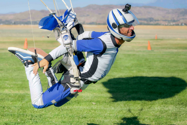 confident skydiver swoops