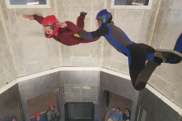young student flies high in indoor skydiving wind tunnel