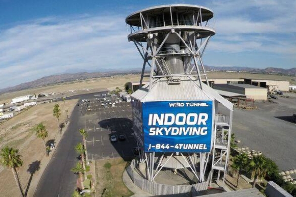 exterior of wind tunnel at Skydive Perris