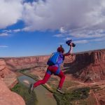 Katie Piele base jumping in the Grand Canyon