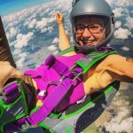 Katie Piele smiles in freefall