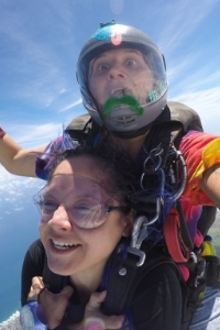 Katie Piele in freefall with tandem skydiving student